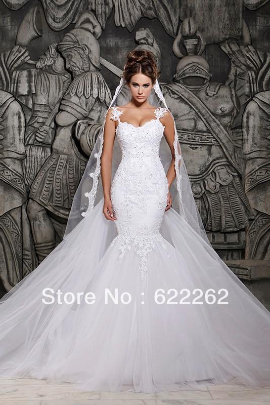 Designers 2014 dentelle blanche et voir à travers les robes de mariée sirène avec amovible. train robes de mariée en tulle