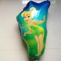Free shipping new 50pcs/lot big size  aluminum foil helium balloons princess tinker bell cartoon balloon birthday