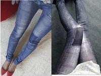 2014 fashion vintage hip slim  jeans trousers pencil pants women's jeans female Elastic black blue big size leggings pants