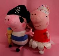 Hot Sale 2pcs/set Ballerina Peppa pig & Pirates george pig stuffed plush toys kids dolls height 30 cm in large size