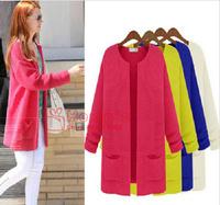 Free Shipping 2014 Women's Spring Medium-long cardigan sweaters Autumn sweater Outerwear