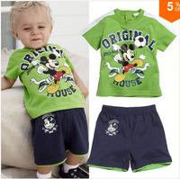 QZ024 new arrival 2014 children clothing Mickey short sleeves sport boys sets t-shirt + shorts 2 pcs kids summer suits 5pcs/1lot