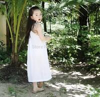 2014 New 1pcs Girls Strap Loose Long Dresses Cotton Hemp Trendy Birthday Summer Party Korea Pure 2-10Y,Fairy children clothings