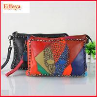 Hot! 2014 New Women Korean Style Genuine Leather Patchwork Handbag Rivet Skull Lady Clutch Purse Wallet Evening Bag PH37