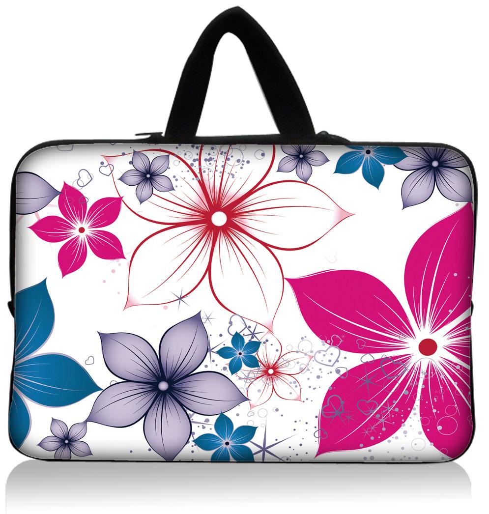 "NOVO! Colorful Floral 15.1 "" 15.3"" Neoprene Laptop Case titular manga Netbook Bolsa Bag Capa Protector Handle Dustproof impermeável(China (Mainland))"