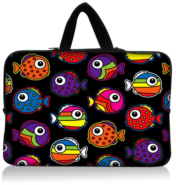"Hot peixes coloridos 15.1 "" 15.3 "" Laptop Sleeve Neoprene Netbook bolsa cobrir titular Case Bag Protector Handle Dustproof impermeável(China (Mainland))"