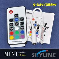 10 pcs/lot free shipping mini RGB 60-288w RGB strip light controller ,DC5v ,12v ,24v support ,with DC power connector & 4 pin