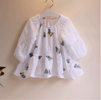 2014 children clothing baby girl dress Butterfly half sleeve shirt beautiful linen cute child shirt princess dress,for 2-8y