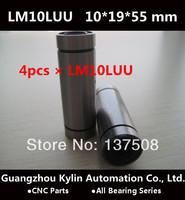 On Sale! 4pcs LM10LUU Linear Bearing 10x19x55 mm,free shipping 10mm linear bearings for CNC