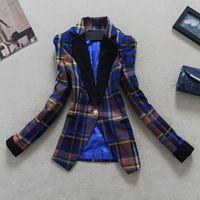 Plus size New 2014 women's spring suit fashion slim fashion color block decoration plaid one button suit female outerwear ZY0899