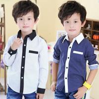 Hu sunshine retail new 2014 spring and autumn boys clothing long-sleeve polka dot shirt /turn down collar cotton shirts