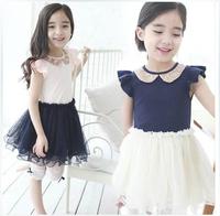5 Pcs Lot 2014 New Fashion Summer Kid Girl Baby Child Short Sleeve Sequin Doll Collar Ball Gown 2 Layer Yarn TUTU Dress H0140478