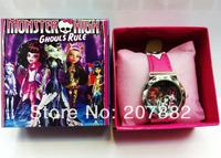 Free shipping !50pcs/lot ! 2014 Fashion Monster High Character Quartz Watch Cartoon Children Watch A3261 Wholesale