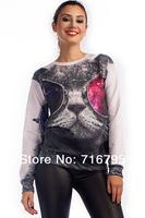 Free shipping women Cool Cat Graphic Sweatshirt , cheap woman longsleeve  hoodies
