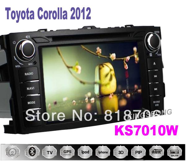 Toyota Corolla 2012 car dvd player with GPS navigation PIP BT 3G WIFI Radio SWC Free SD card with Map KS7010W(China (Mainland))
