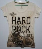 Hard rock beige thin short-sleeve xiaoqin letter t-shirt