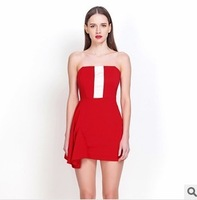 New 2014 Spring Women Summer Strapless Dress Off the Shoulder Patchwrok Neon Sexy Ruffles Girl Party Red Dress Casual Dresses