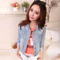 Denim outerwear female spring and autumn long-sleeve denim coat slim short design denim coat denim clothing top