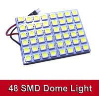 2 sets/lot T10 Festoon 2 Adapters 48 SMD 5050 white Light 12V LED reading Panel Car interior Dome light