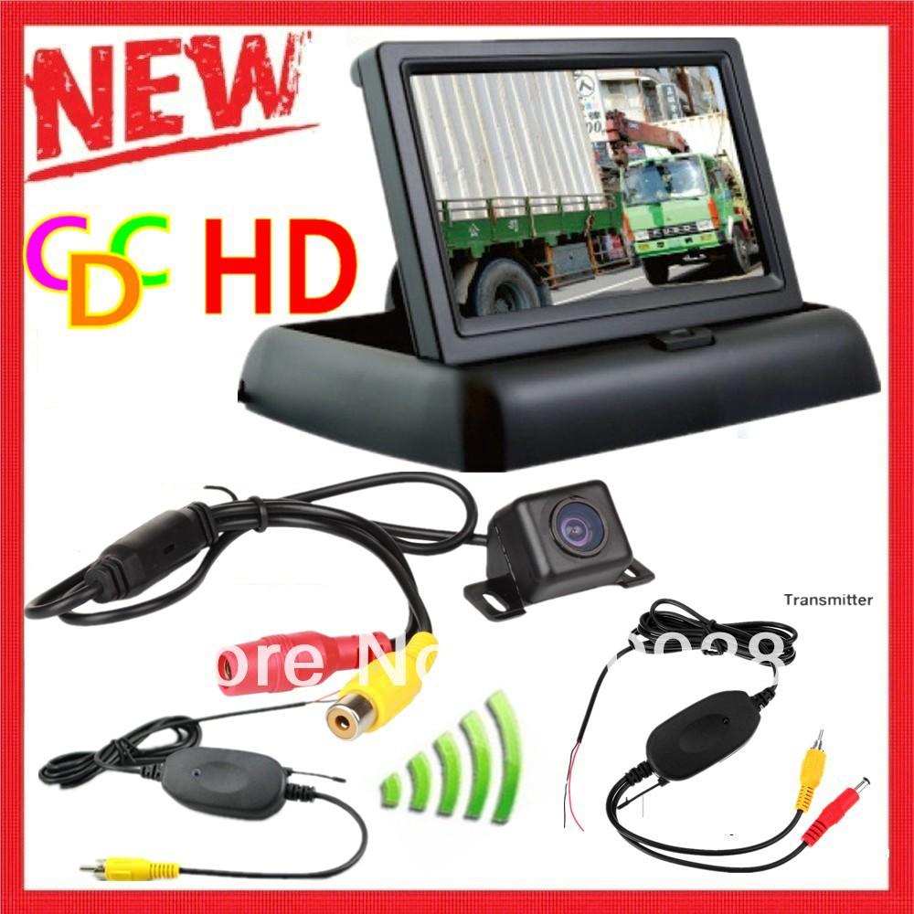 4.3 Inch Car Reversing Kit 4.3' TFT LCD Foldable Car Fodable Monitor LCD Display +2.4G wireless MINI CCD Rear View Camera Cam(China (Mainland))