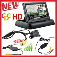 4.3 Inch  Car Reversing Kit 4.3' TFT LCD Foldable Car Fodable  Monitor LCD Display +2.4G wireless MINI CCD Rear View Camera Cam