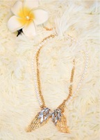 Personalized gold angel wings Necklace CZ diamond pearl necklace super Freeshipping Crystal necklace