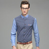 2014 Men's Long Sleeve  Turn-down Collar Fashion Slim Men's Shirt Matching Color Free Shipping Wholesale MCL265
