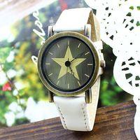 Free shipping wholesale dropship 2014 hot sale Big Star Leather quartz watches men fashion women