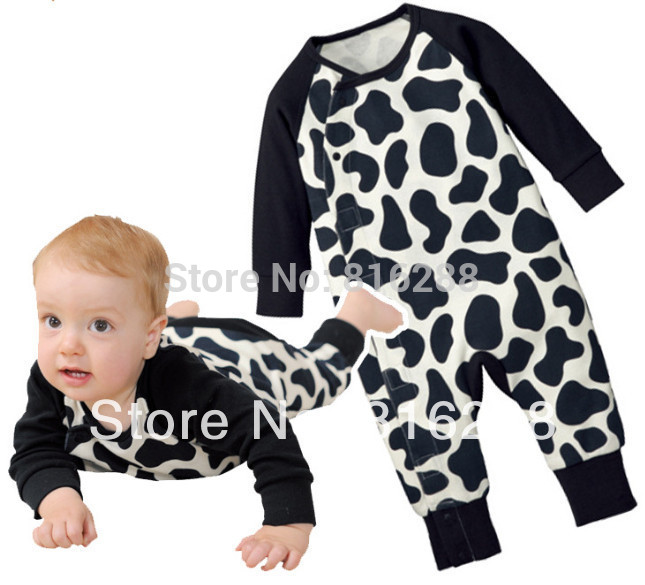 2014 new fashion baby boy girl long sleeve spring autumn rompers baby cow print rompers clothing black white(China (Mainland))