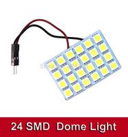 10 sets/lot T10 Festoon 2 Adapters 24 SMD 5050 white Light 12V LED reading Panel Car interior Dome light