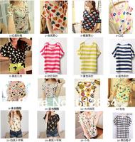 Free shipping, Multi flower fashion T-shirt, Chiffon short sleeve dress, women lady simple thin shirt, summer clothes