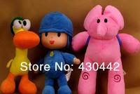 2014 limited special offer unisex 3pcs/lot bandai cartoon pocoyo elly & pato plush stuffed toys kids birthday gift free shipping