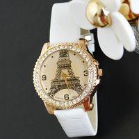 2014 Watches Women Fashion Luxury Brand Tower Diamond Leather Wristwatch Free Shipping