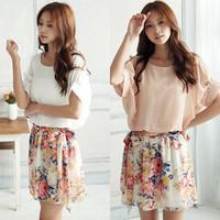 Korean Sweety Women Floral Chiffon Mini Dress Pleated Short Skirt Summer New