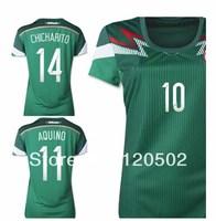A+++ thailand Mexico 2014 world cup home women CHICHARITO G.DOS SANTOS AQUINO ladies soccer jerseys football uniform