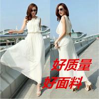 New 2014 Summer Women Fashion Bohemia Beach Dress White Casual Dress Plus Size Girl Sarafan Long Dress Free Shipping