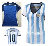 A+++ thailand  world cup Argentina home away Top quality blue women MESSI TEVEZ DI MARIA football shirt ladies soccer jerseys