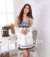 Summer short-sleeve sleepwear spaghetti strap summer viscose women's sexy nightgown twinset lace lounge !