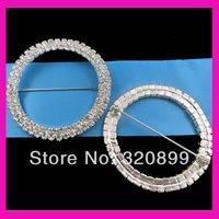 50mm double rows round rhinestone buckle  With Pin /Wholesale
