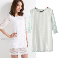 2014 fashion spring and summer o-neck pullover three quarter sleeve slim waist fashion  lace  dress female Free Shipping