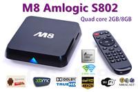 Quad Core XBMC Android TV Box M8 Amlogic S802 2G/8G 2.4G/5G Dual  Mali450 GPU 4K HDMI Bluetooth DOLBY True HD DTS HD wholesale