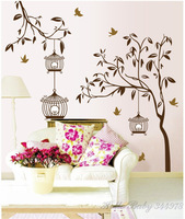 Free Shipping ( 2 pcs / lot ) Romantic sofa in the living room TV backdrop  removable wall stickers  Tree