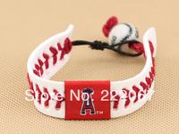 Major league baseball Weave the cow leather Porcelain beads baseball bracelets bracelets The Los Angeles angels