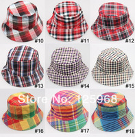 Free shipping!2014 New 5pcs/lot spring and summer bucket hat plaid Beach Sun Cap fishing hats 18 Colors For Choose