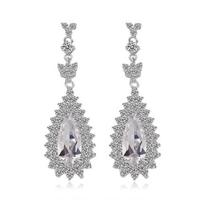 2014 Elegant Woman 18K White Gold Plated Big Drop Earrings