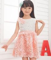 Momo -Korean version Hot sale 2014 summer girls dress, Pink Rossete dress, princess dress, 5pcs/lot free shipping