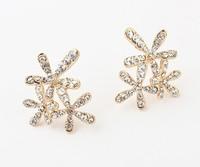 Free shipping aretes hot sale ladies summer snowflake earrings new design fashion women elegant rhinestone stud earrings 2014
