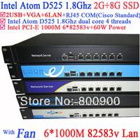 Full Gigabit Multi Wan Core Routers with 6 82583v lan Intel D525 1.8G support ROS Mikrotik PFSense Panabit Wayos 2G RAM 8G SSD