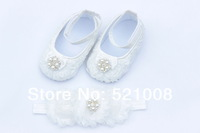 White Baby Flower Shoes with Rhinestone Matched Headband for Girl First Walkers Newborn Soft Sole Shoes 1 sets