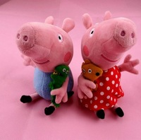 New Arrival 2pcs/lot 19cm Plaid skirt Peppa Pig Toys Plush Doll George Pig Toy Christmas Gift Free Shipping